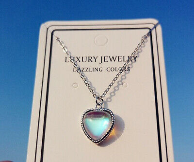 £3.79 • Buy Blue Heart Stone Pendant 925 Sterling Silver Chain Necklace Women Jewellery Gift