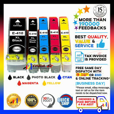 AU15.82 • Buy 5 X YYUDA NoN-OEM 410XL 410 XL Ink For Epson XP530 XP540 XP630 XP640 XP900
