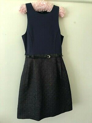 AU14.95 • Buy FOREVER NEW Blue & Black Belted Dress Sz 6 Near New