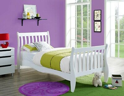 £119.99 • Buy White Wooden Sleigh Bed Frame 3FT Single Solid Pine Memory Foam Mattress Bed