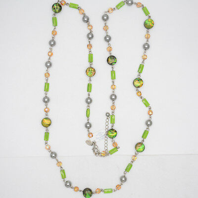 $ CDN10.85 • Buy Retired Lia Sophia Jewelry Green Beads Faux Pearl Long Necklace Chain For Women