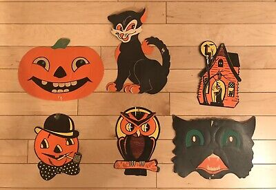 $ CDN55.19 • Buy Lot Of 6 Vintage Halloween Embossed Decorations H.E. Luhrs USA