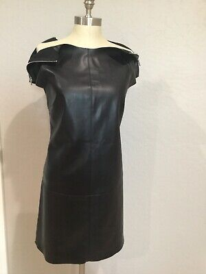 ZARA FAUX LETHER MINI DRESS WITH ZIPER DETAIL ON SHOULDER SZ Large ,short Sleeve • 33.88$
