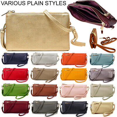 £7.94 • Buy Small Plain Clutch Bag Purse Cross Body With Wristlet Over Shoulder Long Strap