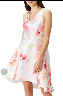 Coast Hove Floral Print High Low Multi Pink Dress Size 16 New • 64.99£