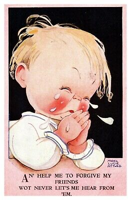 $8.49 • Buy Mabel Lucie Attwell Baby Crying While Praying Forgive Friends 3696 Postcard S11