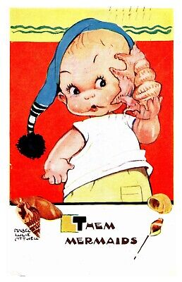 $8.49 • Buy Mabel Lucie Attwell Baby Holding Sea Shell To Ear, Mermaids! 5499 Postcard S11