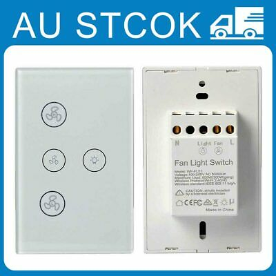AU38.45 • Buy Smart Wifi Ceiling Fan Controllers Wall Switch Touch Panel For Home Alexa Google