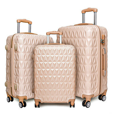 20/24/28  Small Large Suitcase Hard Shell Travel Trolley Hand Luggage Rose Gold • 84.99£