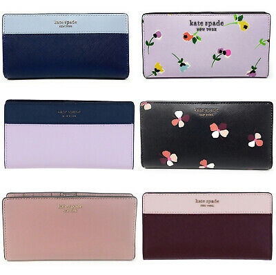 $ CDN65.18 • Buy Kate Spade Cameron Large Slim Bifold Wallet Pink Blue Black Floral