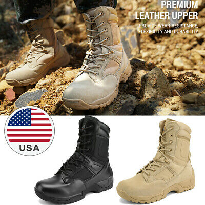 $46.83 • Buy Mens Military Tactical Desert Work Boots Side Zip Hiking Motorcycle Combat Boots