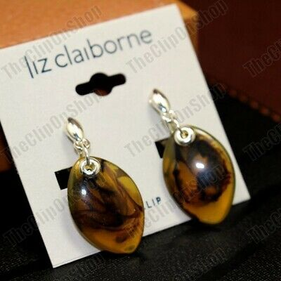 £2.99 • Buy CLIP ON Retro EARRINGS Amber Brown TORTOISESHELL LUCITE Silver Plated Clips