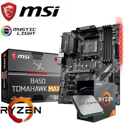 AU599 • Buy MSI B450 TOMAHAWK MAX ATX Gaming Motherboard + AMD 3600 3.6GHz CPU Bundle
