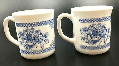 2 Arcopal Honorine Cups Coffee Mugs Made In France Blue White Floral Rose Flow • 18.98$