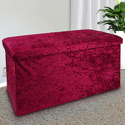 Large 2 Seater Crushed Velvet Foldable Ottoman Storage Box Double Bed Foot Stool • 24.99£