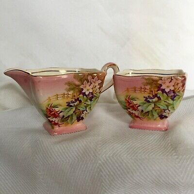 $ CDN53.99 • Buy Royal Winton Grimwades 1930's Art Deco Pink Gold Sugar Bowl & Creamer RARE