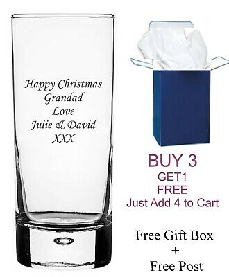 Personalised Engraved Bubble Glass Highball Glass Gifts 65th 70th, 80th Birthday • 8.99£