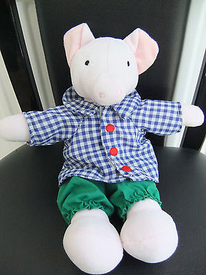 Latitude Pink Pig Blue Check Top Green Trousers Soft Cuddly Toy Next Farm Let  • 12.99£