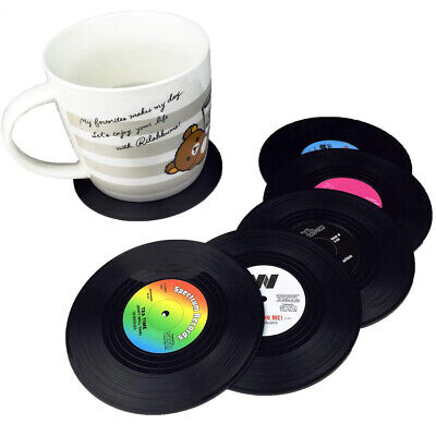 6x Retro CD Record Vinyl Coffee Drink Cup Mat Coasters Chic Silicone Tableware • 4.99£