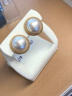 $625 • Buy Beautiful 14k Yellow Gold Round 14 Mm Mabe Pearl  Earrings