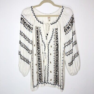 $ CDN33.13 • Buy RAGA Anthropologie Womens Top Size Medium White Beaded Boho