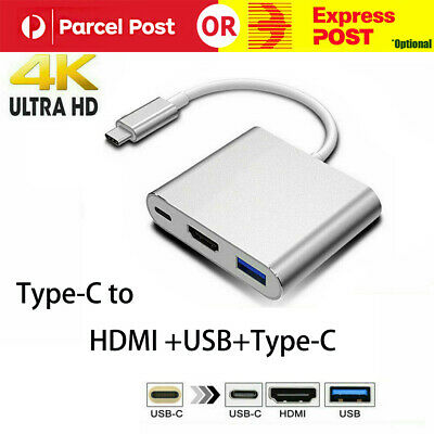 AU14.99 • Buy USB 3.1 Type-C USB-C To Female HUB 3IN1 4K HD HDMI Data Adapter Charging Cable