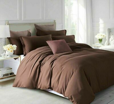 Royal~Quality 600 TC Duvet/Fitted/Flat/Sheet 100%Cotton Brown Solid UK-SG_DB_EMP • 34£