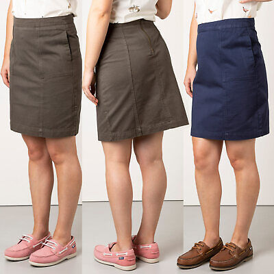 £19.54 • Buy Rydale Chino Skirt Casual Cotton Twill A-Line Plain Knee Length Skirts 3 Colours