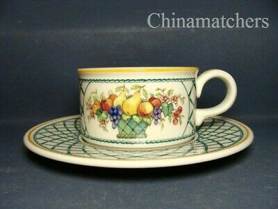 Villeroy & Boch Basket Tea Cup & Saucer (squat Cup), Very Good Condition • 18£