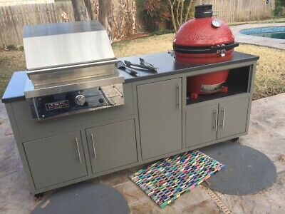 Outdoor Kitchen Island With Kamado Joe And TEC Infrared Grill • 5,500$