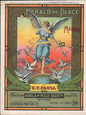 $39.99 • Buy Herald Of PEACE 1914 E T PAULL American Red Cross PEACE SOCIETY Sheet Music!