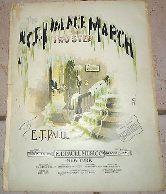 $119.99 • Buy The Ice Palace March 1898 E T PAULL Large Format Sheet Music!