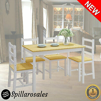 AU349.22 • Buy 5 Pce Rectangle Dining Table And Chair Set Wooden Kitchen Furniture 4 Seats