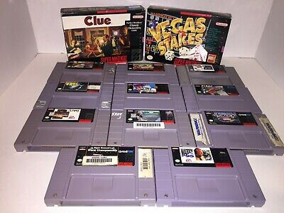 $ CDN54.99 • Buy 13 Snes Game Lot Super Nintendo Bundle Mario Paint, Batter Up Clue Bass Nhl
