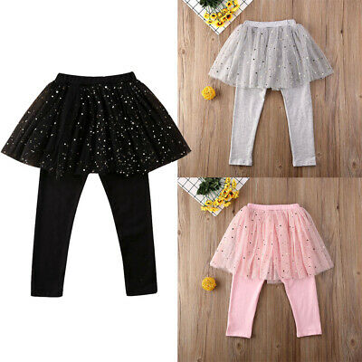 UK Kid Baby Girls Pants Stretchy Bottoms Trousers Lace Tutu Skirt Leggings 2-7Y • 5.99£