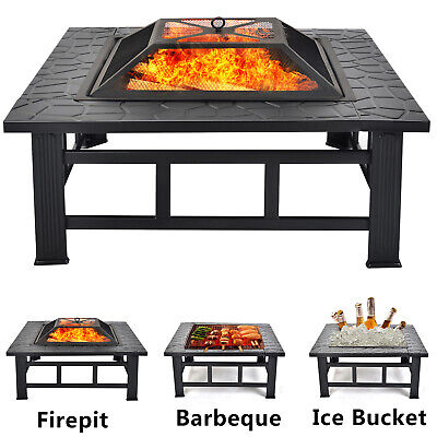 Outdoor BBQ Fire Pit With Grill– Upgrade Steel Garden Heater For Wood & Charcoal • 74.99£