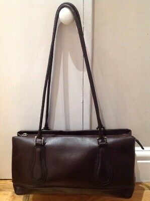 Coccinelle Shoulder Bag, Dark Brown Genuine Leather • 19.99£