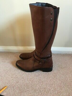 Pavers Knee High Brown Leather Boots Size 5 • 80£