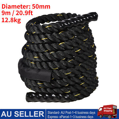 AU94.39 • Buy 50mm 9M Battle Rope Power Strength Training Home Gym Exercise Fitness Anchor AU