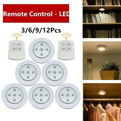 3/6/12 Wireless Remote Control Wall Ceiling LED Lights Counter Cabinet Cupboard • 7.64£