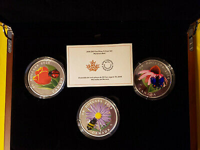 $50 Pure Silver 3 Coin Ladybug, Bumble Bee, Butterfly (( 2018 Murano's Best )) • 1,136.54$