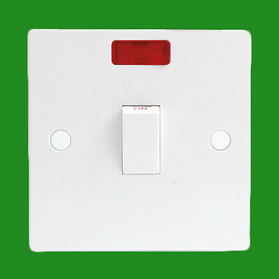 £4.49 • Buy 20A 1 Gang Double Pole With Neon Light White Light Switch