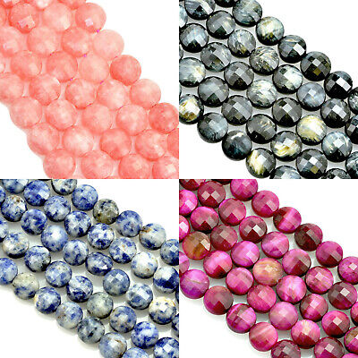 £4.79 • Buy Faceted Coin Semi-precious Gemstone Beads For Jewellery Making Size 8mm