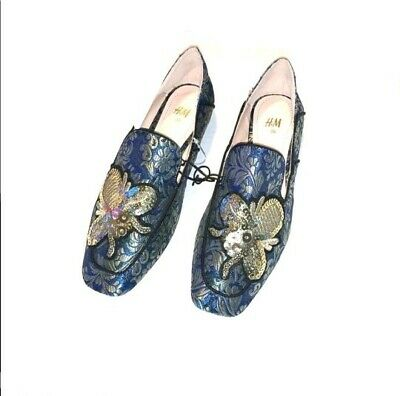 H&M Women's Bug Sequin Smoking Flats Loafers Slip On US Sz 5.5 NWT • 16.99$