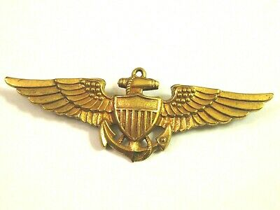 WWII US NAVY VANGARD GOLD FILLED PILOT WING Badge Pin GF • 65$