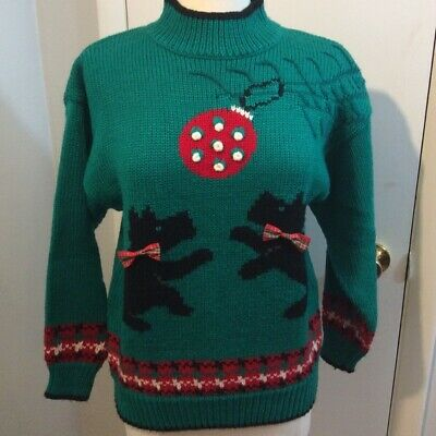 $32 • Buy Vintage Scottie Dog Christmas / Holiday Party Sweater S Scottish Terrior