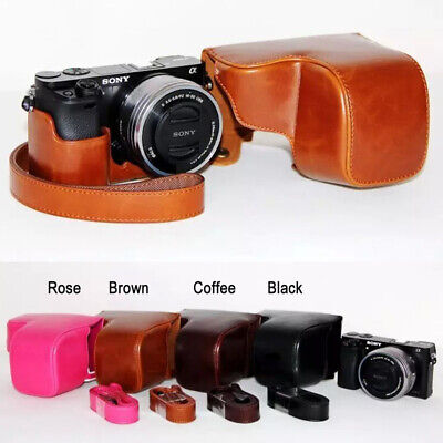 AU18.70 • Buy Leather Camera Protect Case Bag Strap For Sony 3C A6000 A6100 A6300 A6400 16-50