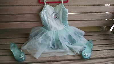 Girl  Frozen  Elsa NWOT Disney Store Costume With Light Up Shoes Size 13/1 • 17.99$