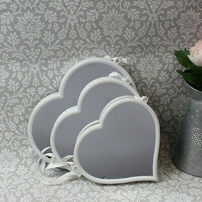 £21.49 • Buy White Heart Hanging Mirrors - Set Of 3 Assorted Sizes. Lovely Decorative Items.