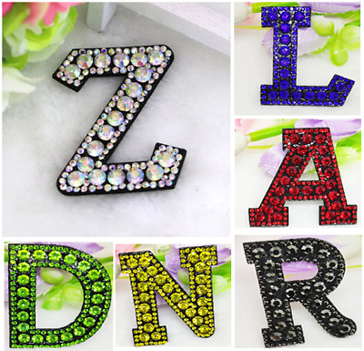 £1.49 • Buy Rhinestone Letter Patches Iron On Sew On Alphabet Patch Embroidered Sparkle A-Z